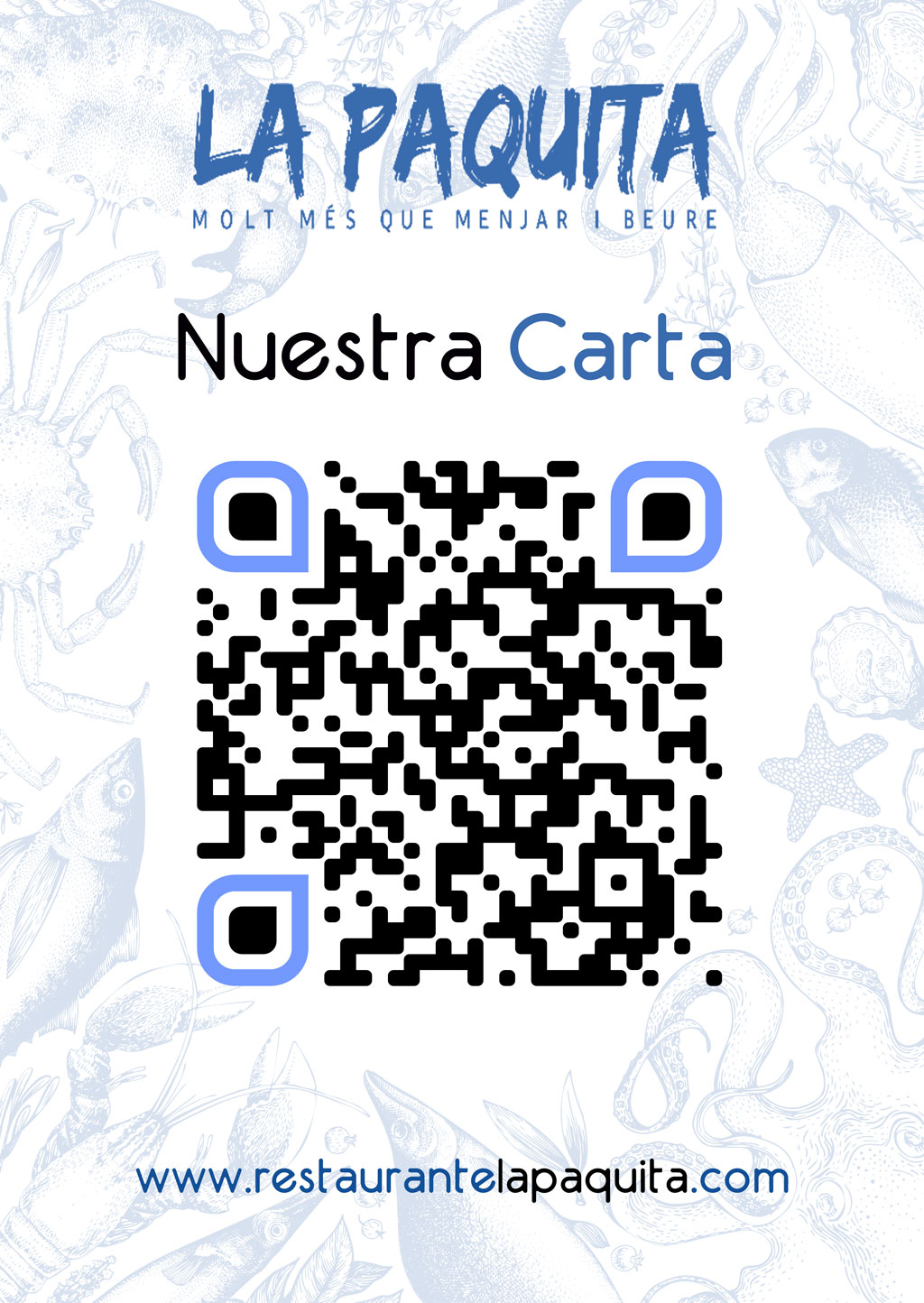 Ejemplo de QR tamaño cartel para carta digital de restaurante o bar